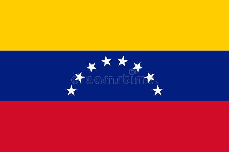 Nationale vlag van Venezuela. Vectorillustratie. Caracas royalty-vrije illustratie