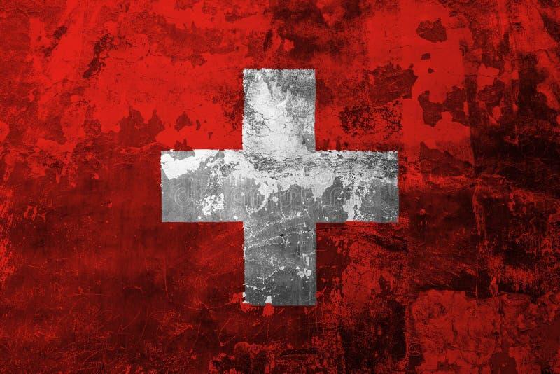 Nationale vlag van Zwitserland op de achtergrond van de oude muur royalty-vrije illustratie
