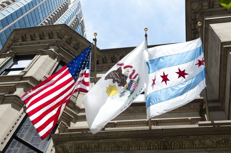 Nationale Vlaggen die bij de Bouw golven stock afbeelding