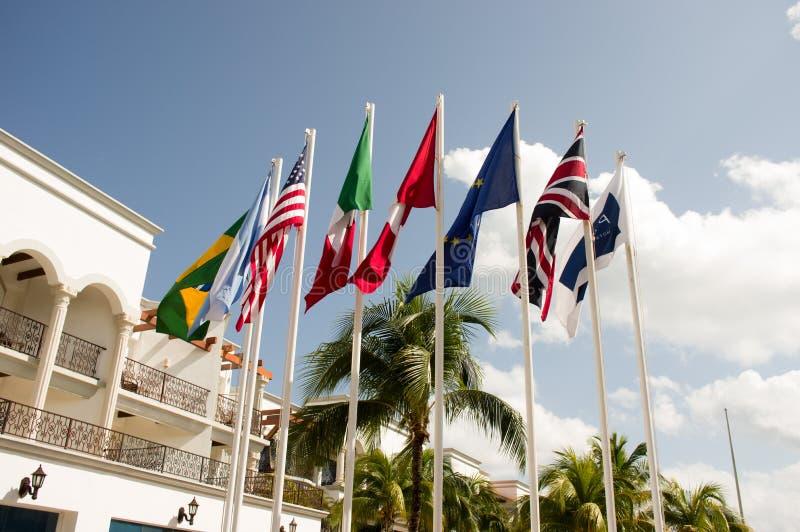 Nationale vlaggen met palmen op de achtergrond royalty-vrije stock foto's