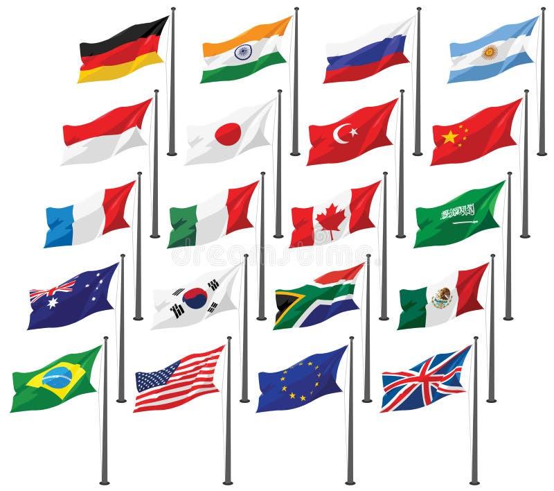 Nationale Vlaggen van G20 vector illustratie