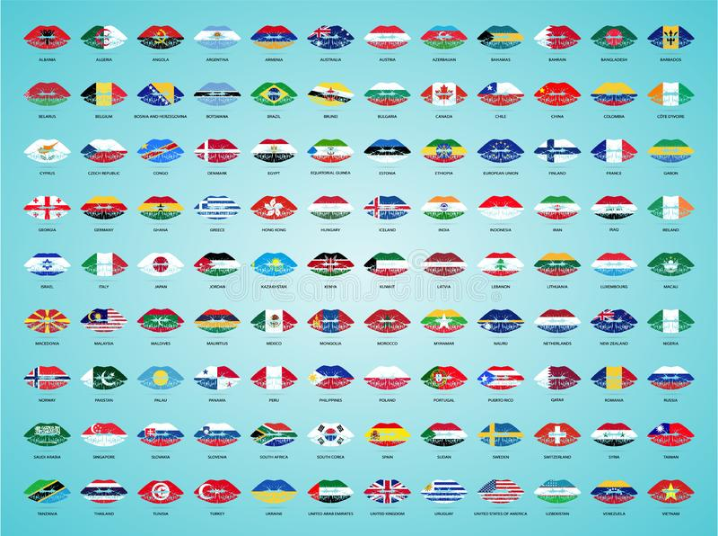 Nationale vlaggen van over de hele wereld met Lippenstift op de Lippen op een Witte Achtergrond Vector illustratie stock illustratie