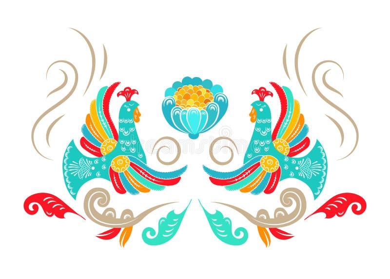 Nationale Volksverzierung Russe Boretskaya-Malerei Dekorative Elementvögel, -anlagen und -blume verzieren Hintergrund Hintergrund vektor abbildung