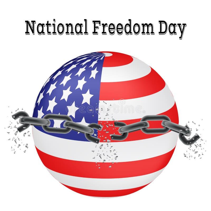 Nationale Vrijheidsdag Vectorillustratie van een gebroken ketting op een achtergrond van de Amerikaanse vlag in de vorm van een b stock illustratie
