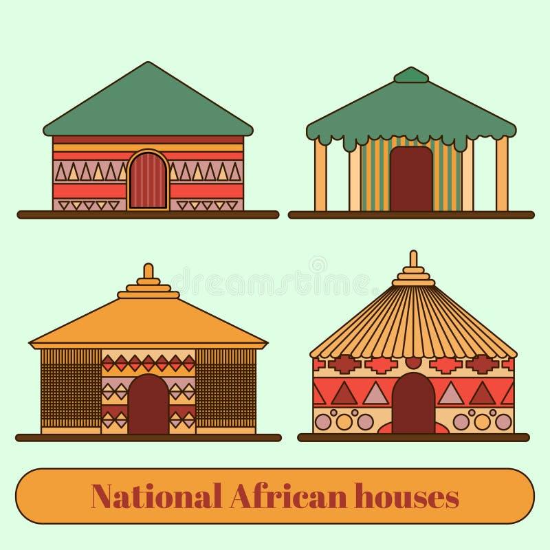 Nationale Wohnungen Häuser und Hütten in einem afrikanischen Dorf Flache Linie Art Auch im corel abgehobenen Betrag lizenzfreie abbildung