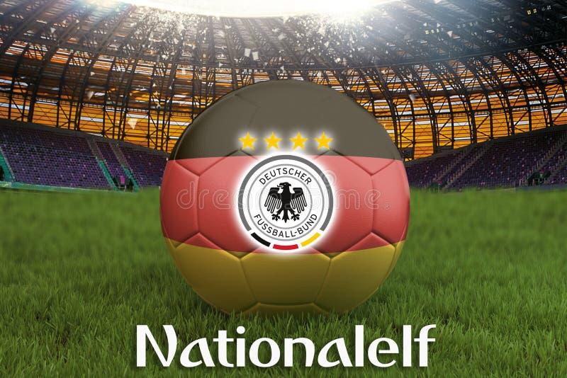 Nationalelf na Niemcy języku na drużyny futbolowej piłce na dużym stadium tle z Niemcy drużyny loga rywalizaci pojęciem niemiec royalty ilustracja