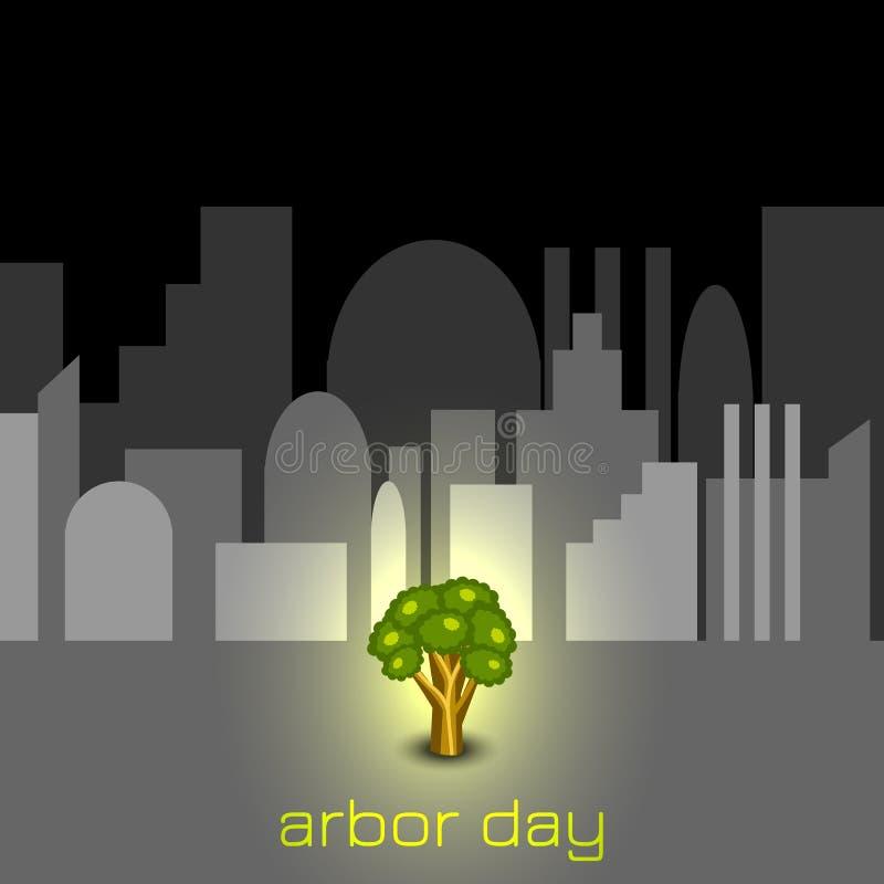 Nationaler Tag des Baums Baum in der grauen Stadt lizenzfreie abbildung