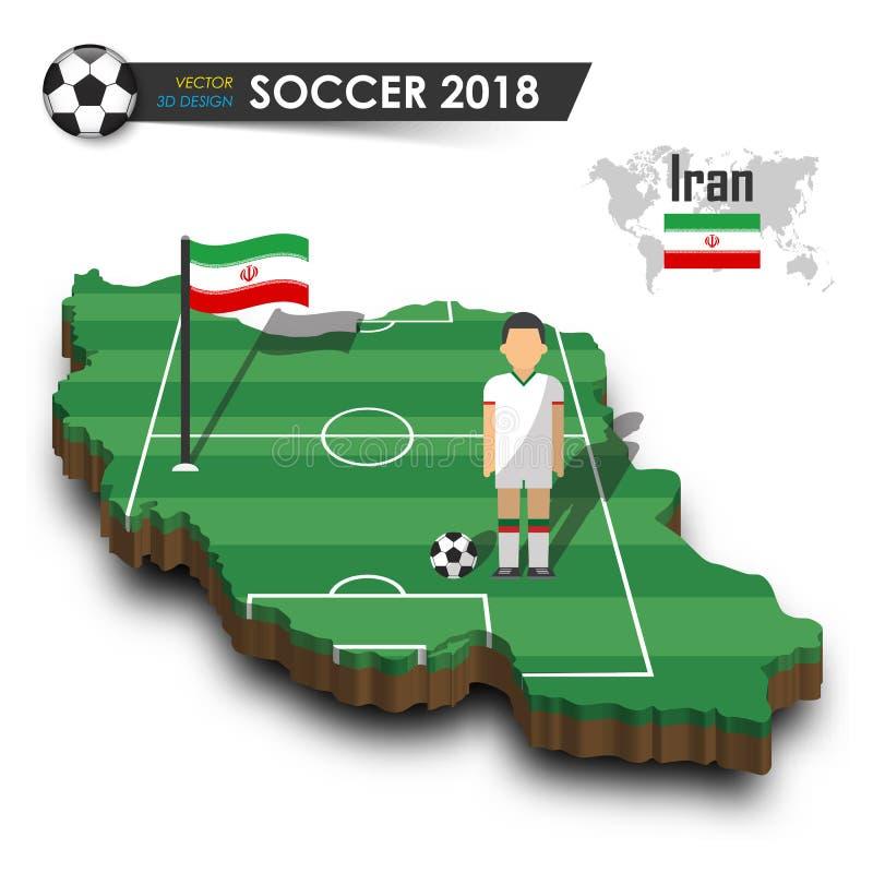 Nationales Fußballteam des Irans Fußballspieler und -flagge auf 3d entwerfen Landkarte Lokalisierter Hintergrund Vektor für inter vektor abbildung
