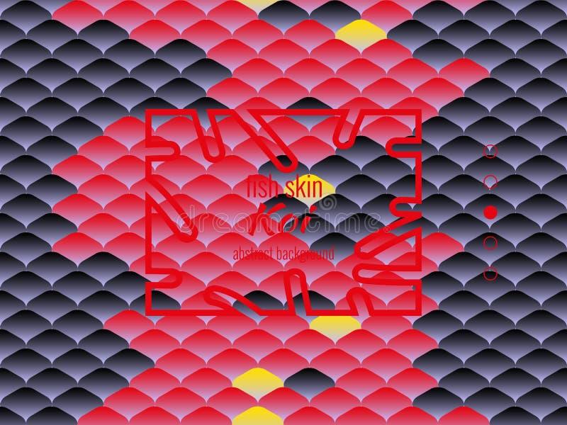 Nationales orientalisches Muster, mehrfarbige Fischhaut des Karpfens Koi Nahtloser Muster Karpfen in der hellen roten und schwarz stock abbildung