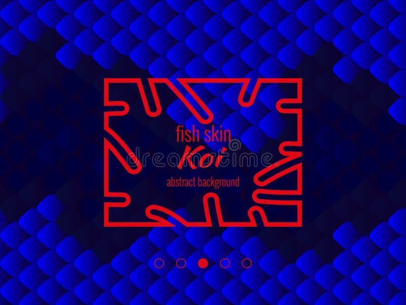 Nationales orientalisches Muster, mehrfarbige Fischhaut des Karpfens Koi Nahtloser Muster Karpfen im dunkelblauen, hellen Ultrama vektor abbildung