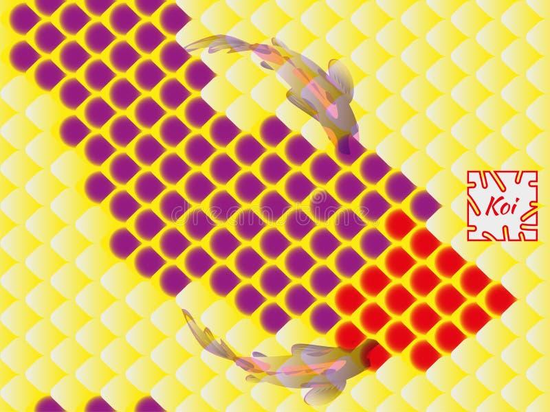 Nationales orientalisches Muster, mehrfarbige Fischschuppen des Karpfens Koi Nahtloser Muster Karpfen in hellem Rotem, im Veilche vektor abbildung