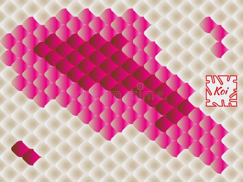Nationales orientalisches Muster, mehrfarbige Fischschuppen des Karpfens Koi Nahtloser Muster Karpfen in hellem Rotem, rosa und b lizenzfreie abbildung