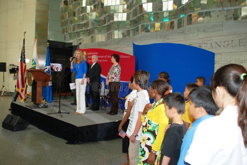 Nationalhymne am 14. Juni stockbilder