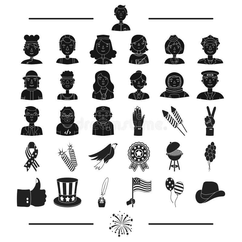 Nationalité, divertissement, loisirs et toute autre icône de Web dans le style noir Américain, salut, icônes de profession dans l illustration libre de droits