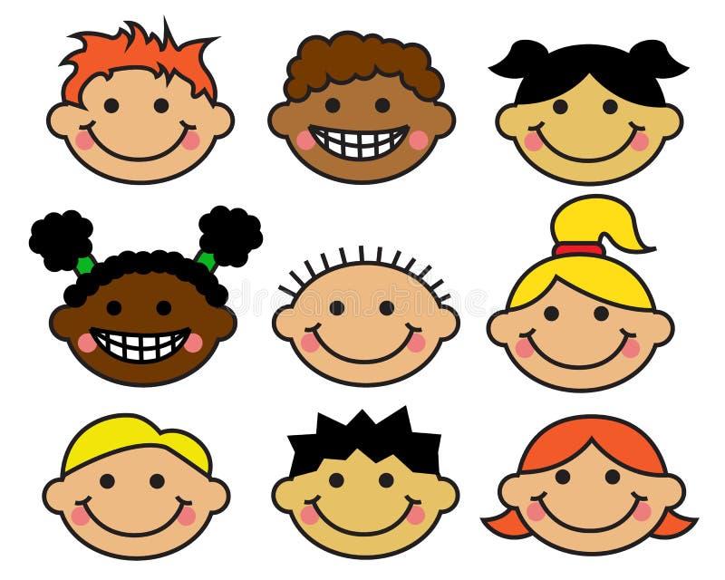 Nationalités des visages des enfants de bande dessinée différentes illustration libre de droits
