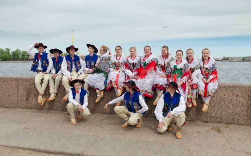 The Nationalities Ball participants: Polish folk dance ensemble `Gaik`. stock photography