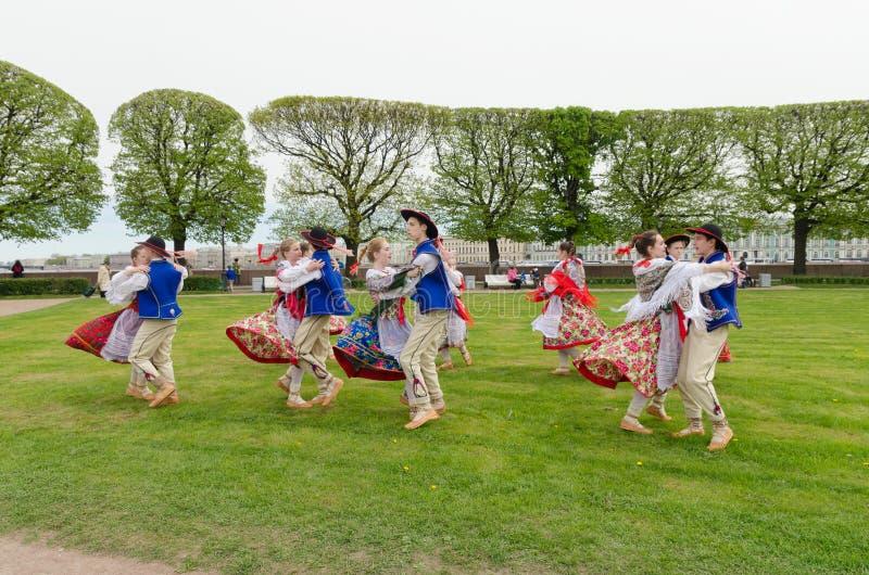 The Nationalities Ball participants: Polish folk dance ensemble `Gaik`. royalty free stock photography
