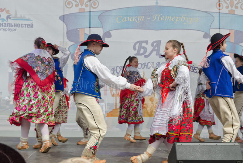 The Nationalities Ball participants: on the stage Polish folk dance ensemble `Gaik`. royalty free stock photo