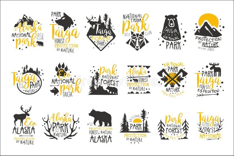 Nationalpark Alaskas Promo-Zeichen-Reihe bunte Vektor-Design-Schablonen mit Wildnis-Element-Schattenbildern lizenzfreie abbildung