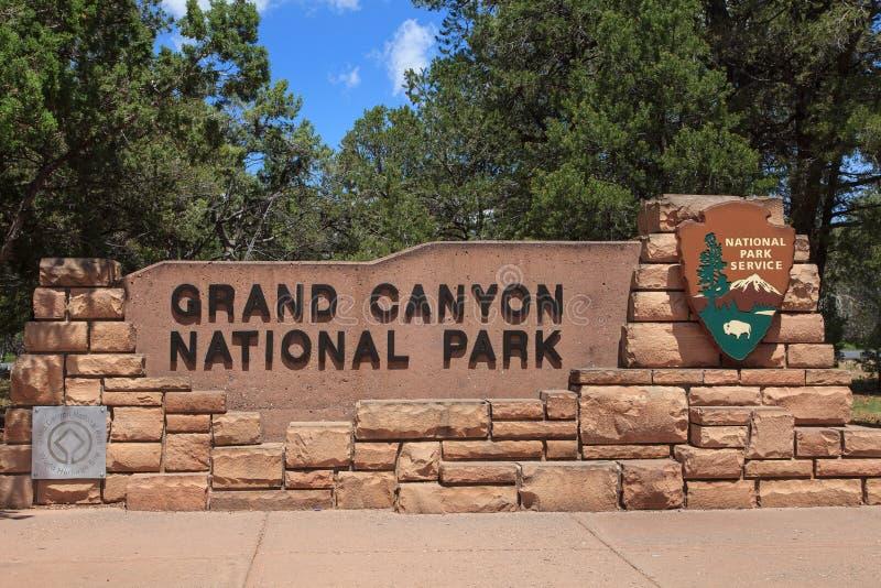 Nationalpark-Eingang SignArizona Grand Canyon s stockfotografie