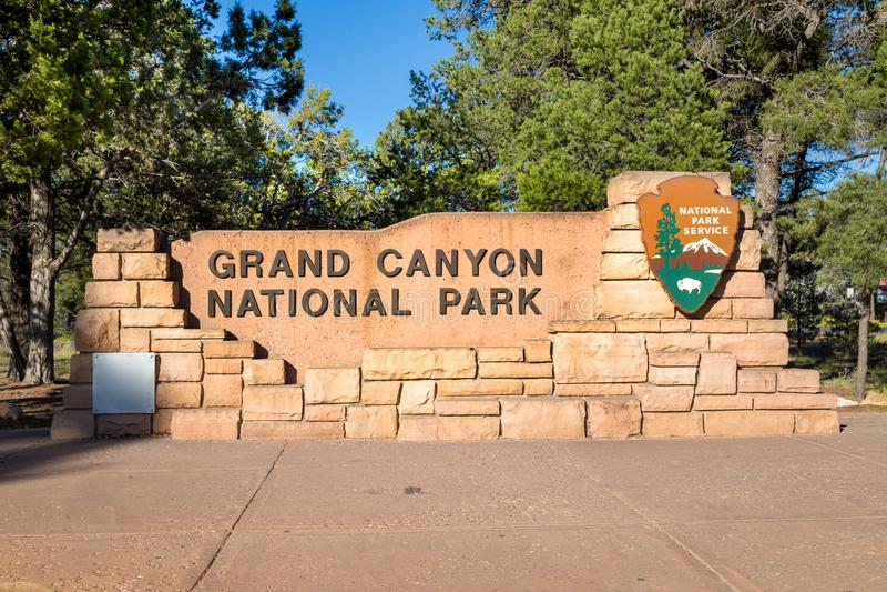 Nationalpark-Eingangszeichen Grand Canyon s, Arizona, USA lizenzfreies stockbild