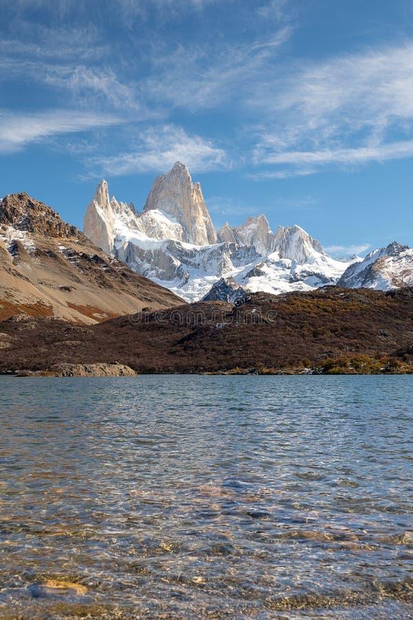 Nationalpark för Los Glaciares, Santa Cruz Province, Patagonia, Argentina, Fitz Roy montering arkivbild