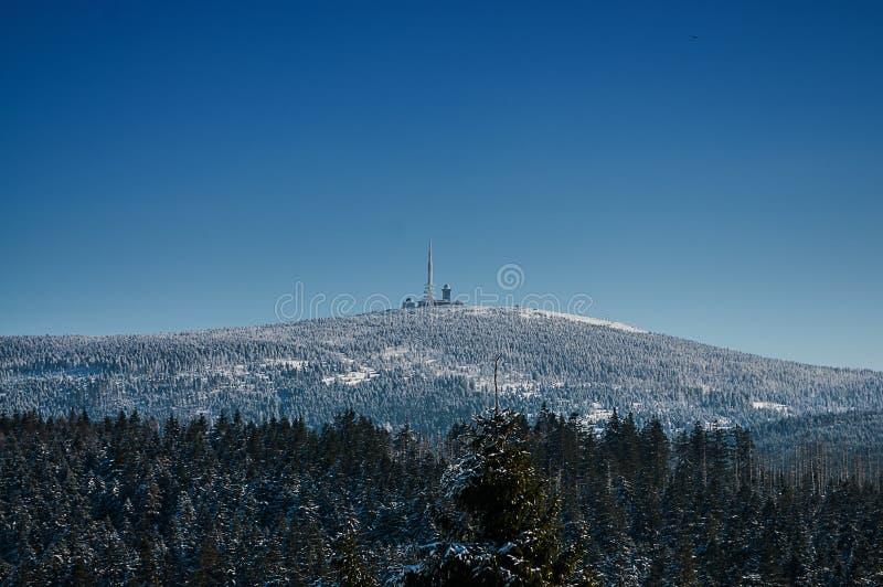 Nationalpark Harz Winter-Landschaft-Brocken stockbild