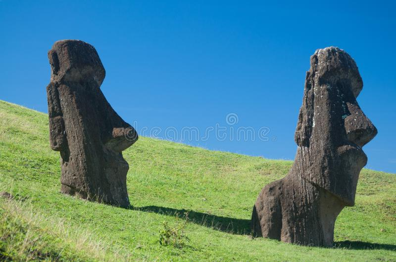 Nationalpark Rapa Nui Eastern Islands Pazific. Two moai in the Nationalpark in Rapa Nui at the North side of the Island royalty free stock photography