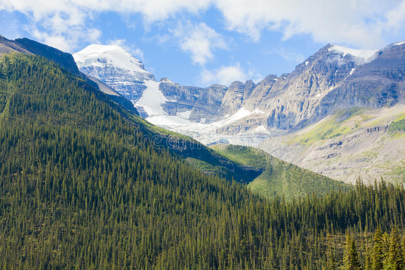 Nationalpark West-Kanada Britisch-Kolumbien Berg- maligne Seegletscheransichtbanffs lizenzfreies stockbild