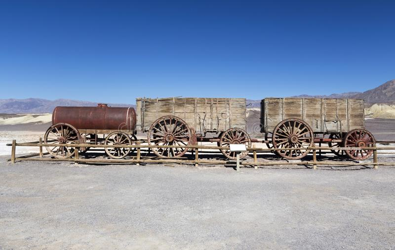 Nationalpark zwanzig Maultier-Team Wagon Harmony Borax Workss Death Valley lizenzfreie stockbilder