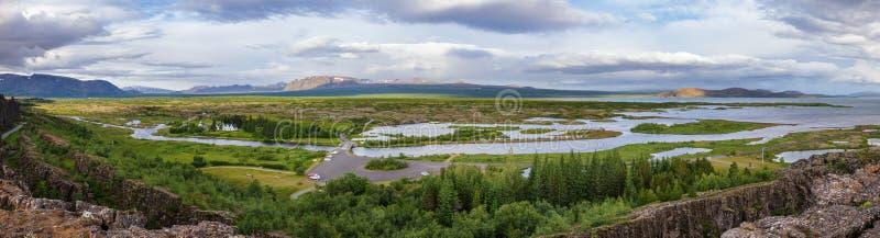 Nationalparkpanorama Thingvellir goldener Kreis-touristischer Weg Island Skandinavien stockbilder