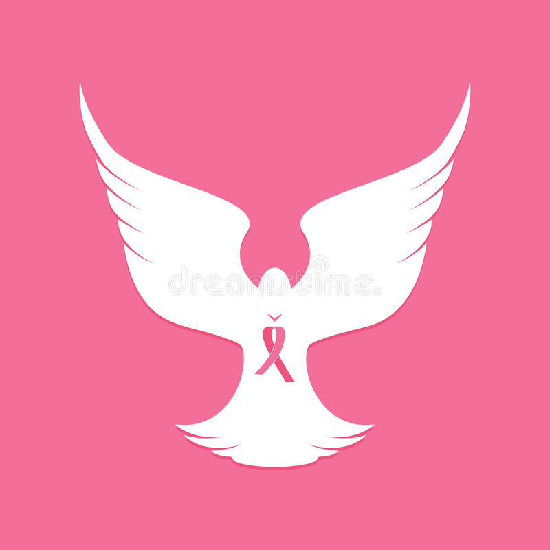 Nationell bröstcancermedvetenhetmånad pink bandet Fågelduva på taklägga ovanför mörkt flyghav för fågel öppna seagullvingar vektor illustrationer