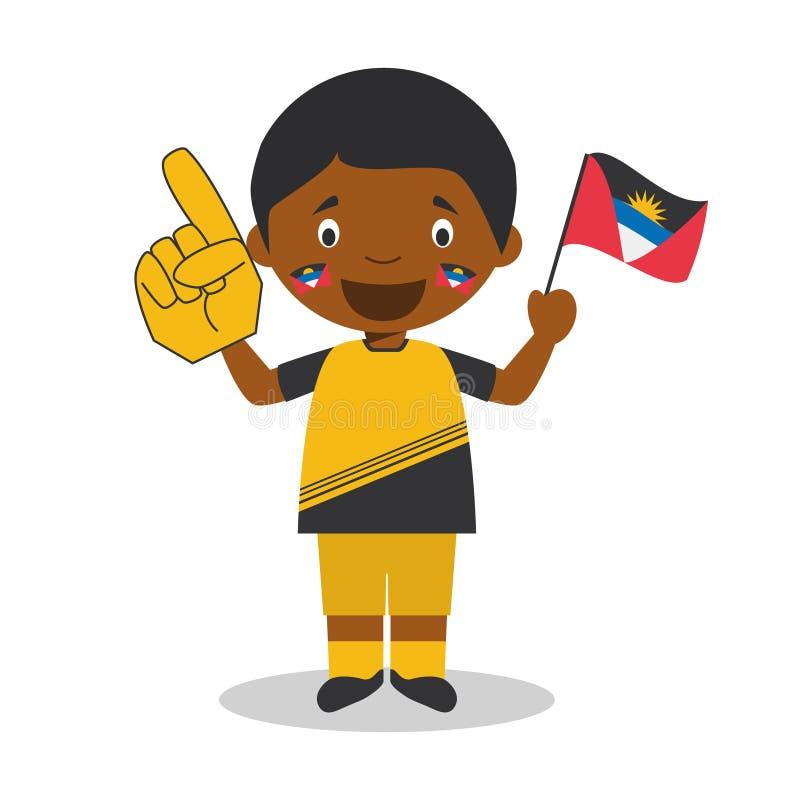 Nationell fan för sportlag från Antigua och Barbuda med flagga- och handskevektorillustrationen royaltyfri illustrationer