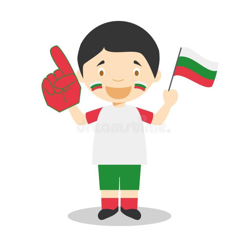 Nationell fan för sportlag från Bulgarien med flagga- och handskevektorillustrationen stock illustrationer