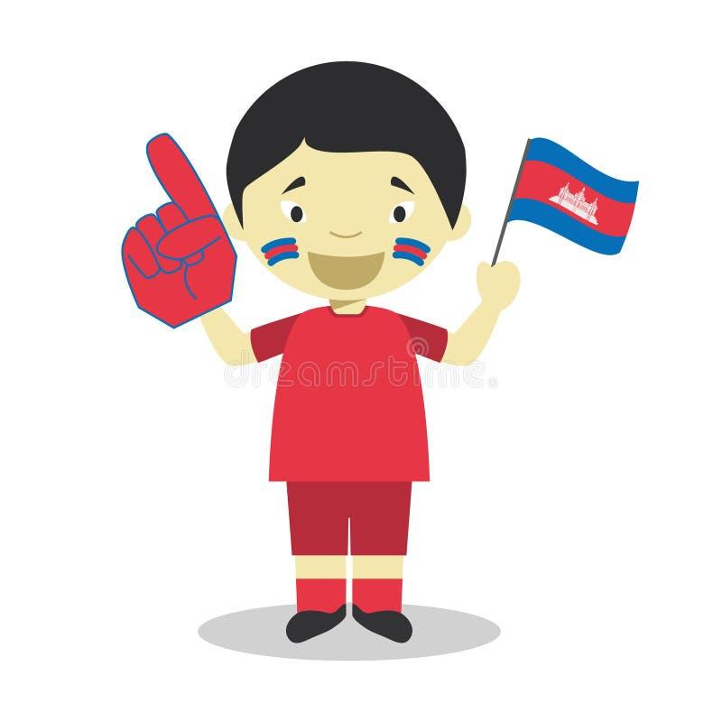 Nationell fan för sportlag från Cambodja med flagga- och handskevektorillustrationen stock illustrationer