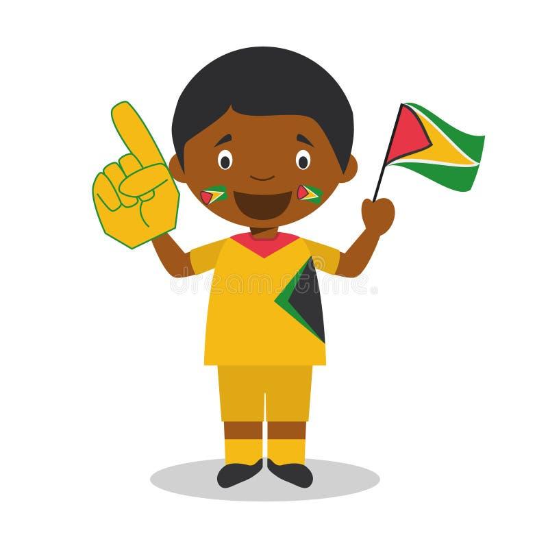 Nationell fan för sportlag från Guyana med flagga- och handskevektorillustrationen royaltyfri illustrationer