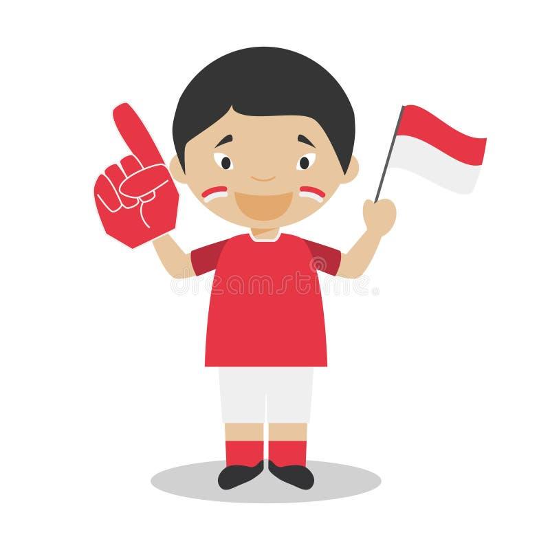 Nationell fan för sportlag från Indonesien med flagga- och handskevektorillustrationen vektor illustrationer