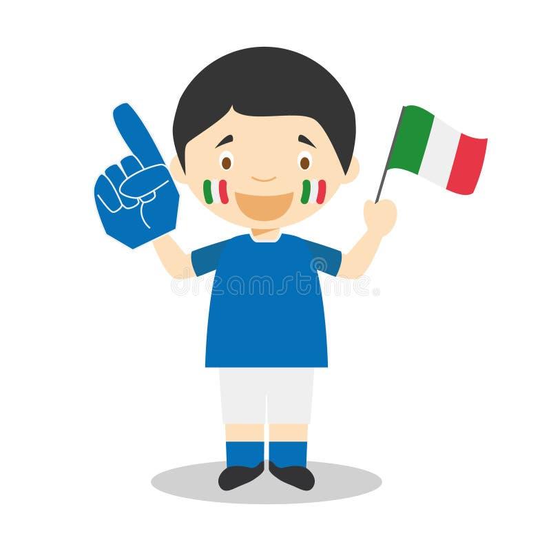 Nationell fan för sportlag från Italien med flagga- och handskevektorillustrationen royaltyfri illustrationer