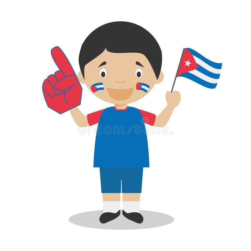 Nationell fan för sportlag från Kuba med flagga- och handskevektorillustrationen stock illustrationer