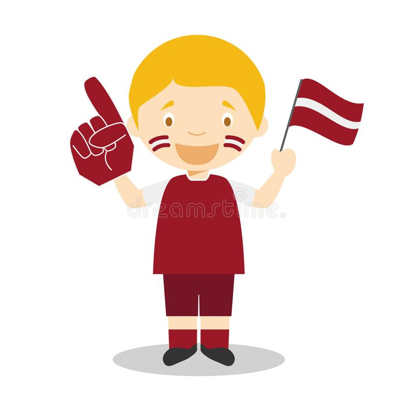 Nationell fan för sportlag från Lettland med flagga- och handskevektorillustrationen stock illustrationer