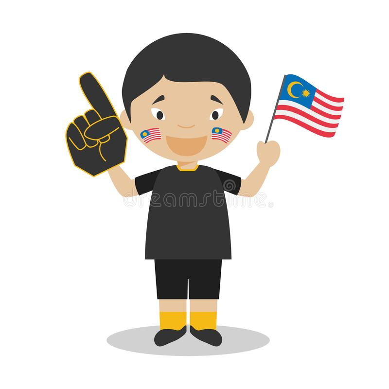 Nationell fan för sportlag från Malaysia med flagga- och handskevektorillustrationen vektor illustrationer