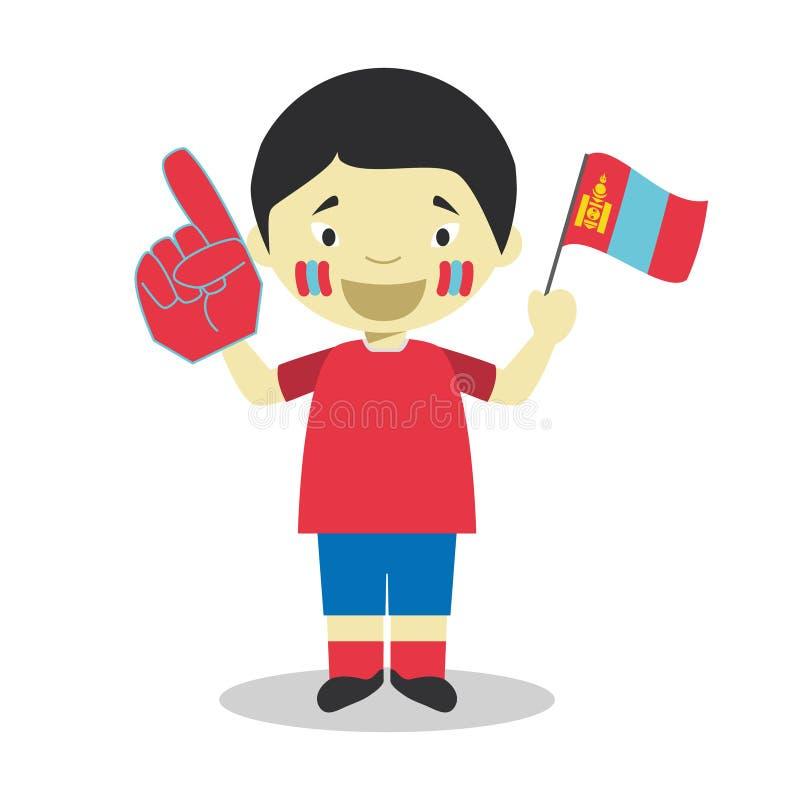 Nationell fan för sportlag från Mongoliet med flagga- och handskevektorillustrationen royaltyfri illustrationer