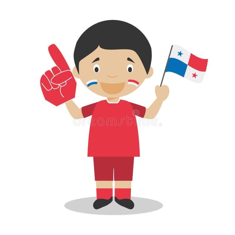 Nationell fan för sportlag från Panama med flagga- och handskevektorillustrationen vektor illustrationer