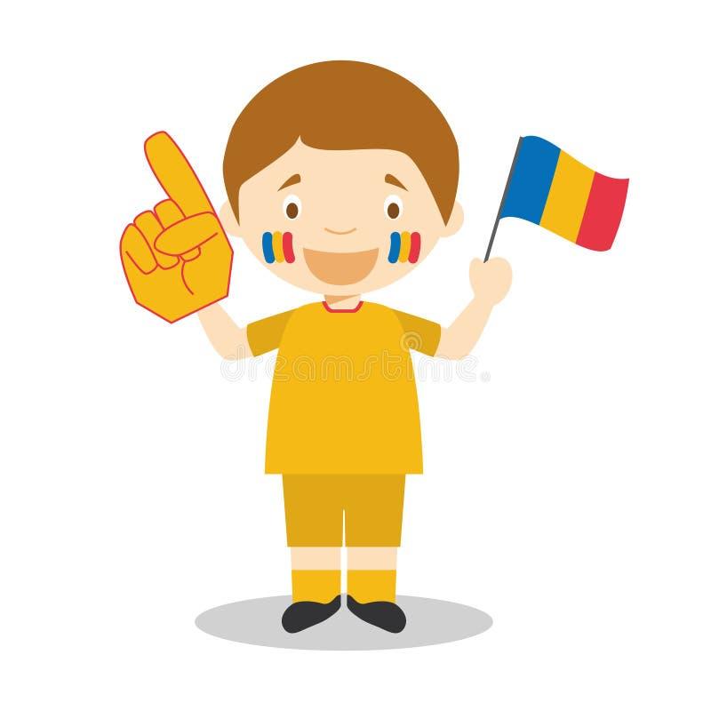 Nationell fan för sportlag från Rumänien med flagga- och handskevektorillustrationen stock illustrationer