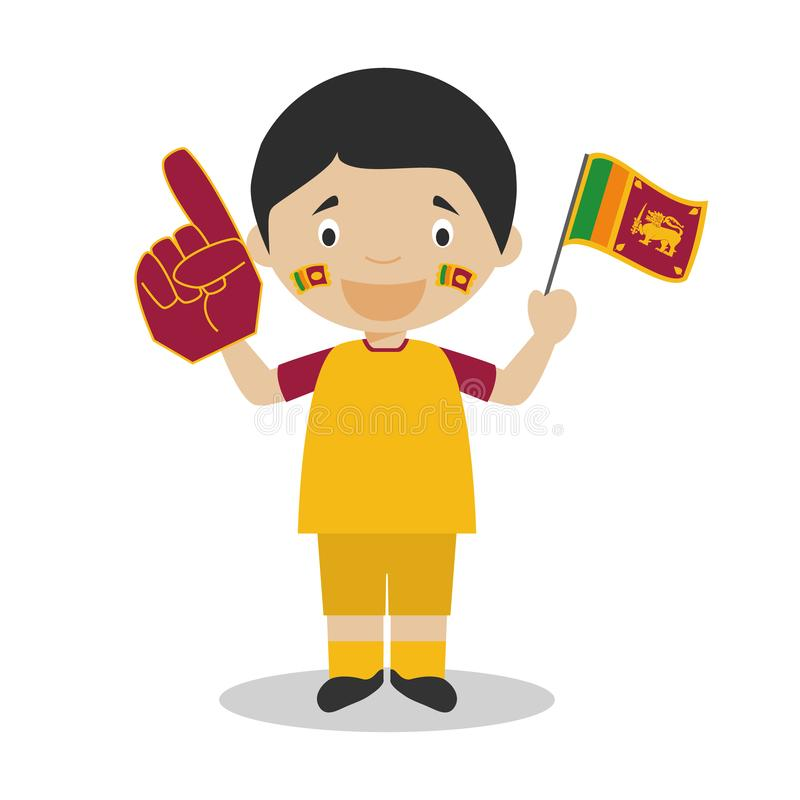 Nationell fan för sportlag från Sri Lanka med flagga- och handskevektorillustrationen royaltyfri illustrationer