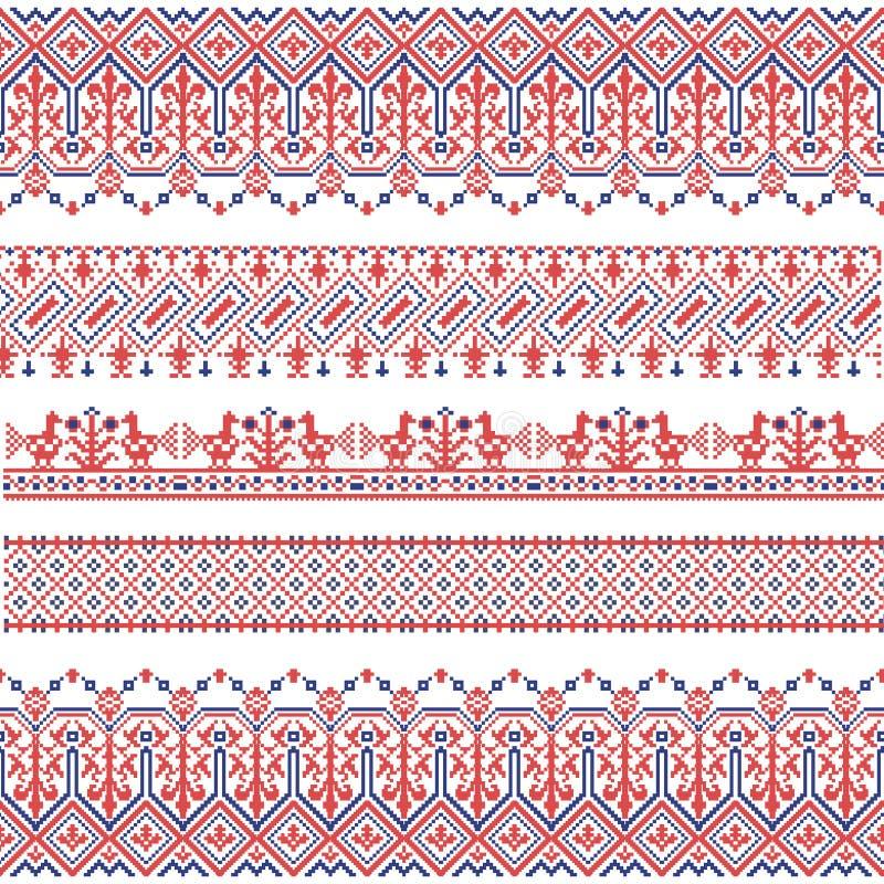 Nationell folk sömlös modell för vektor för textiler, vykort, bakgrund stock illustrationer