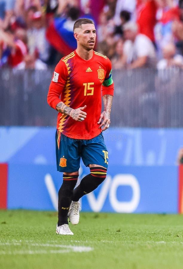 Nationell fotbollslagkapten Sergio Ramos för Real Madrid och Spanien royaltyfri fotografi