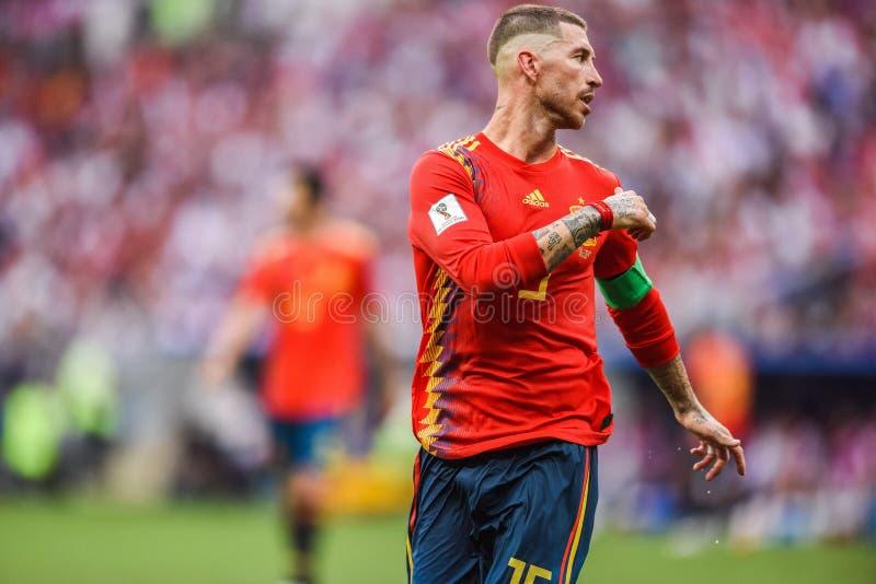 Nationell fotbollslagkapten Sergio Ramos för Real Madrid och Spanien arkivfoton