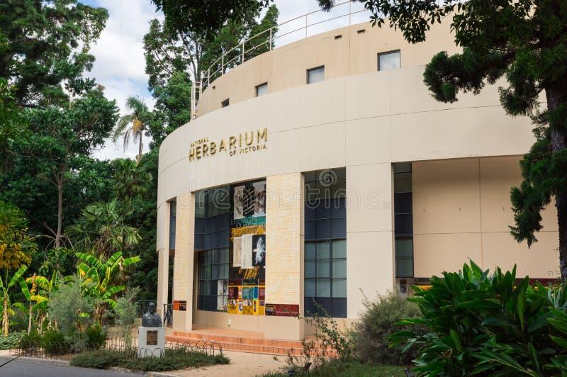 Nationell Herbarium av Victoria byggnad i de kungliga botaniska trädgårdarna i Melbourne royaltyfri foto