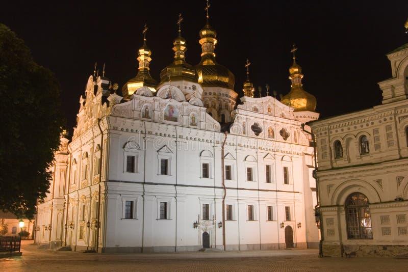 Nationell historisk kulturell fristad Kyiv Pechersk Lavra på natten, Kyiv, Ukraina royaltyfria foton